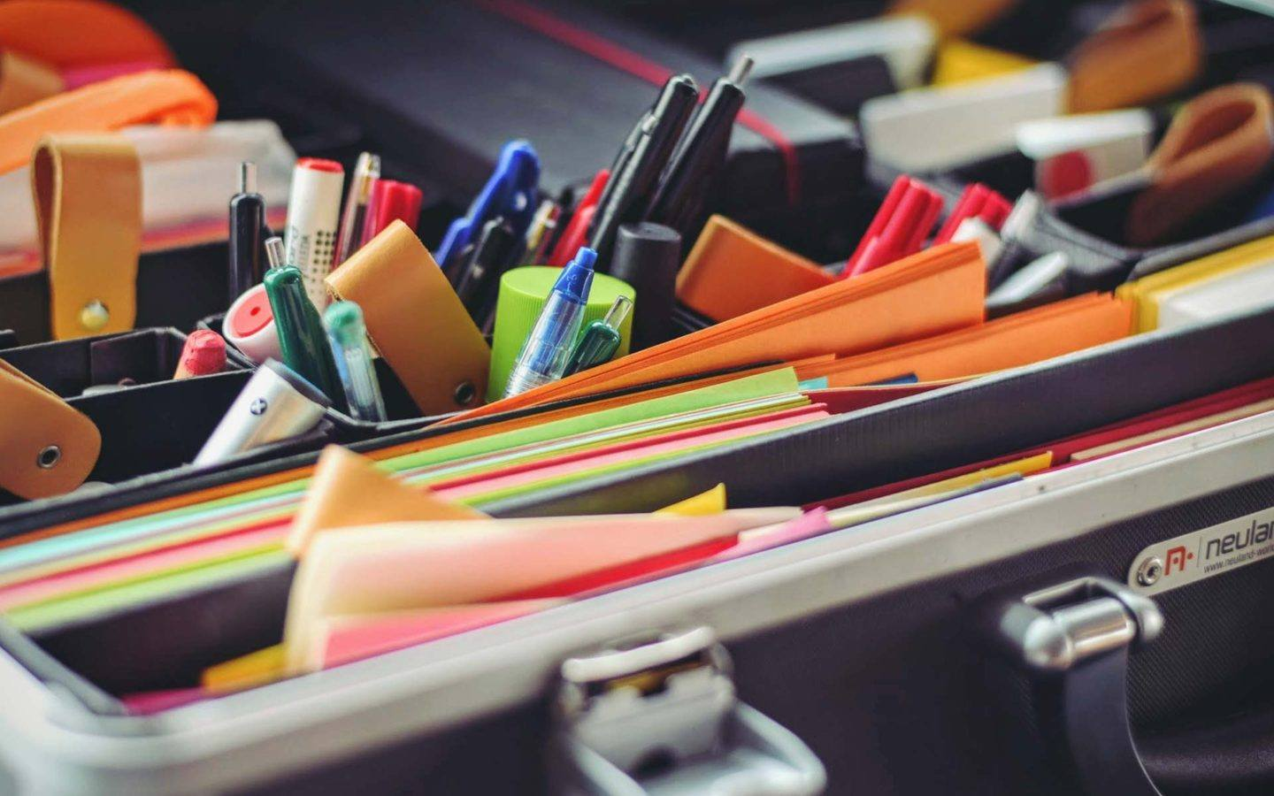 close up of various office stationary items